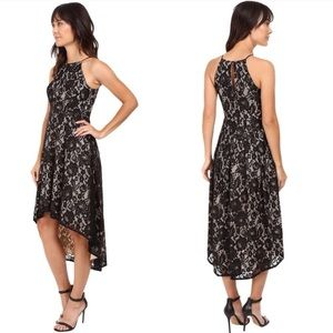 Aidan High Low Black Lace Dress with Nude underlay